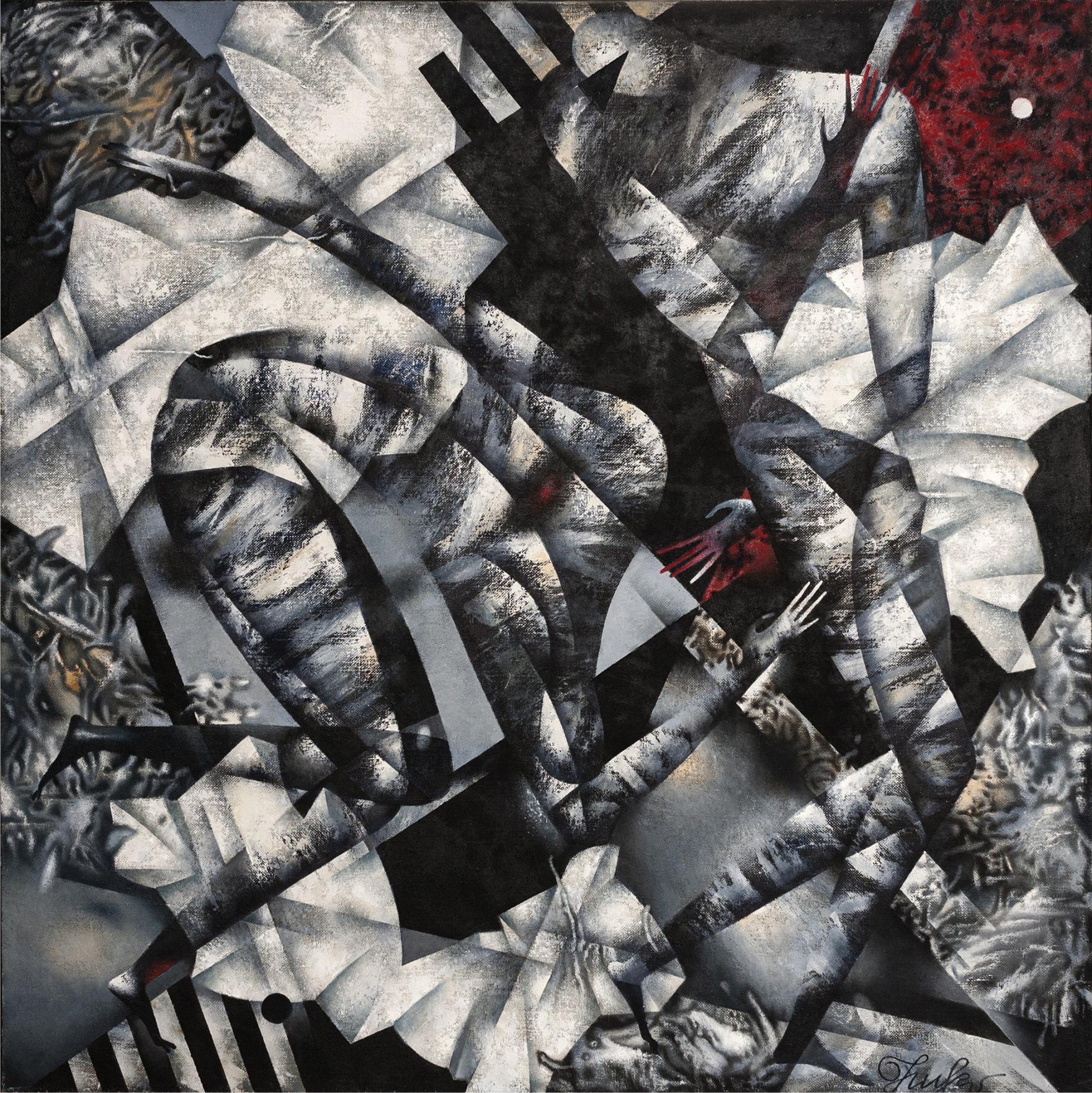E. Nikanorov, Kain i Abel, olej na płótnie, 120x120 cm, 2014