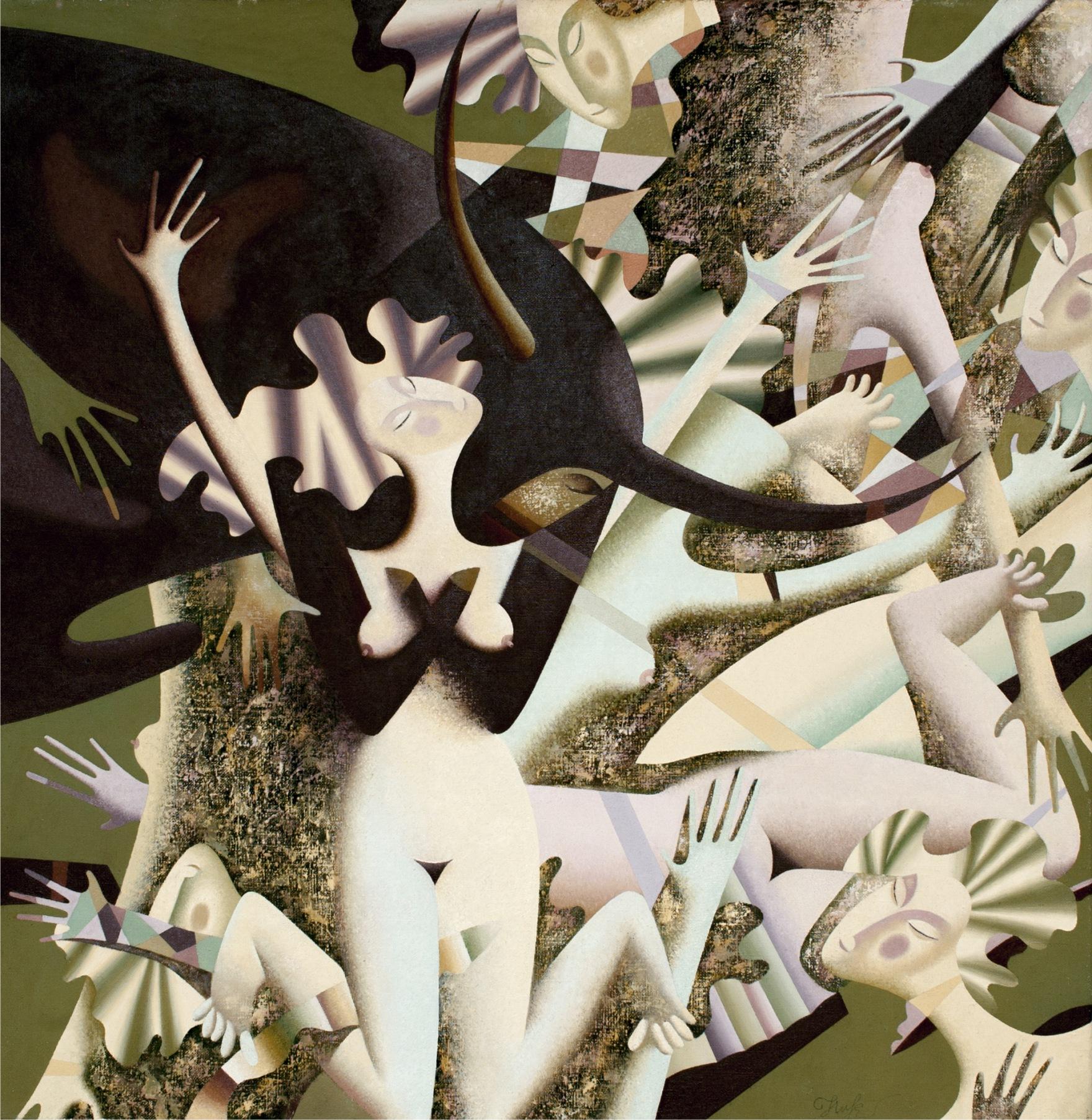 Eduard Nikanorov, Porwanie, olej na płótnie, 120x120 cm